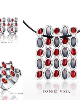 Elipses Handmade Silver Red/Grey Necklace by Daniel Vior