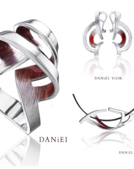 Biteno Silver Handmade Red Enamel Collection by Daniel Vior