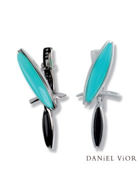 Loxias Handmade Silver Onyx Earrings by Daniel Vior