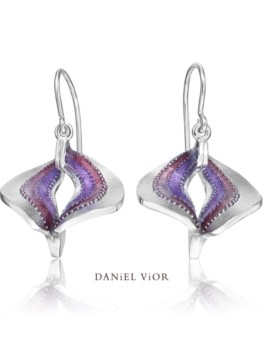 Volva Silver Handmade Violet Enamel Earrings by Daniel Vior