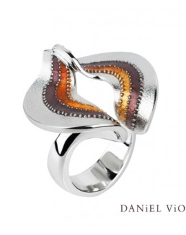 Volva Silver Handmade Brown Enamel Ring by Daniel Vior