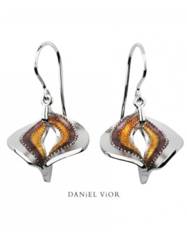 Volva Silver Handmade Brown Enamel Earrings by Daniel Vior