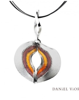 Volva Silver Handmade Brown Enamel Necklace by Daniel Vior