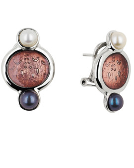 Lunari Silver Handmade Pearl Earrings by Daniel Vior