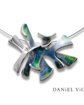 Alga Silver Handmade Green Enamel Necklace by Daniel Vior