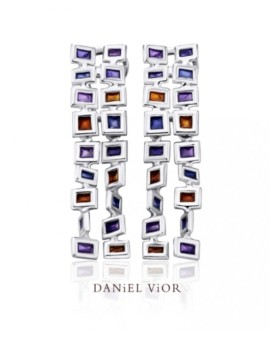 Cuadros Silver Handmade Violet Enamel Earrings by Daniel Vior