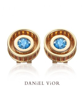 Rodet Blue Topaz Handmade Earrings 18ct Gold by Daniel Vior