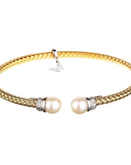 Entwined Gold Pearl Bracelet Vamp London