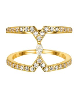 Sahara Marquise Gold Bar Ring Vamp London