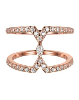 Sahara Marquise Rose Gold Bar Ring Vamp London