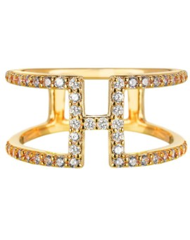 Sahara H Bar Gold Bar Ring Vamp London