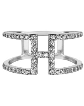 Sahara H Bar Silver Bar Ring Vamp London