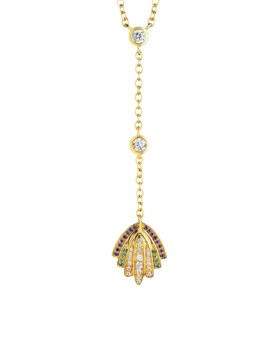 Abyss Shell Rainbow Necklace 18kt Gold CZ Joubi London