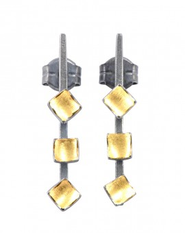 Mozaiku Handmade Gold and Oxidised Earrings Eugen Steier