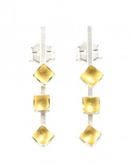 Mozaiku Handmade Gold and Silver Keum Boo Earrings Eugen Steier