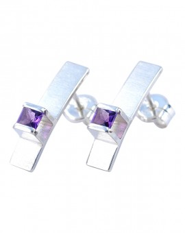 Midori Silver Handmade Earrings Natural Amethyst Eugen Steier