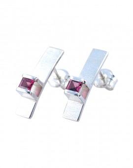 Midori Silver Handmade Earrings Natural Rhodolite Eugen Steier