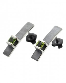 Midori Silver Handmade Oxidised Earrings Natural Peridot Eugen Steier