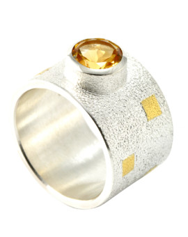 Tetris Handmade Silver And Gold 8mm Citrine Ring Eugen Steier