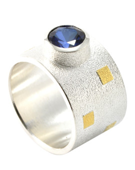 Tetris Handmade Silver And Gold 8mm London Blue Topaz Ring Eugen Steier