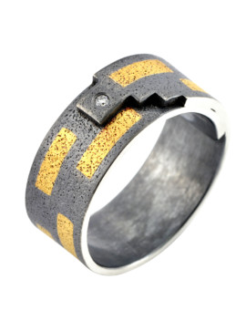 Tetris Handmade Oxidised Silver And Diamond Ring Eugen Steier