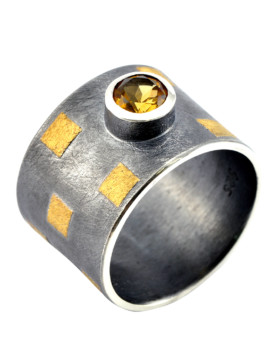 Tetris Handmade Gold And Citrine Ring Eugen Steier