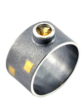 Tetris Handmade Oxidised Silver And Citrine Ring Eugen Steier