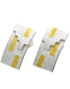 Tetris Handmade Silver And Gold Earrings Eugen Steier