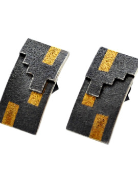 Tetris Handmade Oxidised Silver And Gold Earrings Eugen Steier