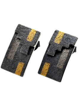 Tetris Handmade Oxidised Silver And White Gold Earrings Eugen Steier