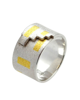 Tetris Handmade Silver And Gold Ring Eugen Steier