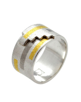Tetris Handmade Silver And White Gold Ring Eugen Steier