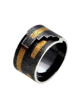 Tetris Handmade Oxidised Silver And Gold Ring Eugen Steier