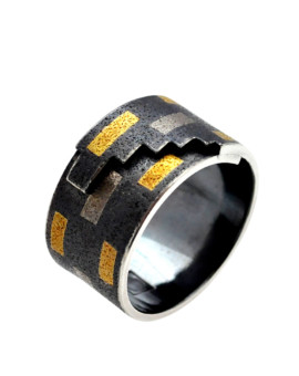 Tetris Handmade Oxidised Silver And White Gold Ring Eugen Steier