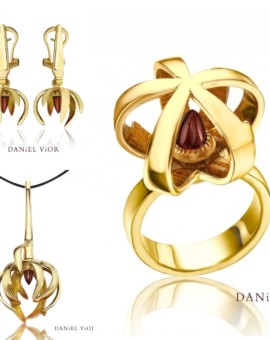 Ceropegia 18ct Gold Handmade Garnet Collection by Daniel Vior