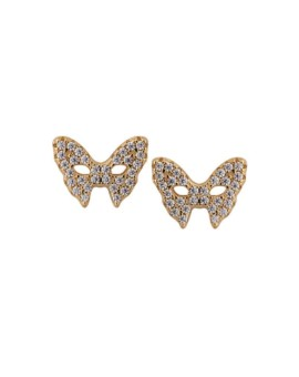 Masquerade Mask CZ Gold Earrings Vamp London