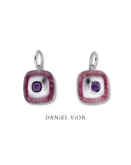 Poas Handmade Silver Amethyst Earrings by Daniel Vior