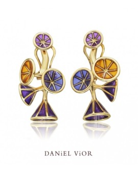 Ipomea Handmade 18ct Gold Violet Earrings by Daniel Vior
