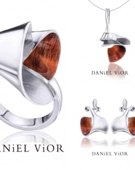 Espiral Silver Handmade Orange Enamel Collection by Daniel Vior