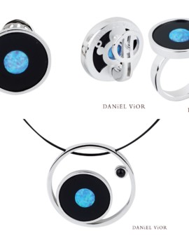Moon Silver Handmade Onyx Blue Opal Collection by Daniel Vior