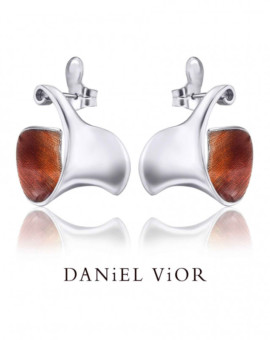 Espiral Silver Handmade Orange Enamel Earrings by Daniel Vior