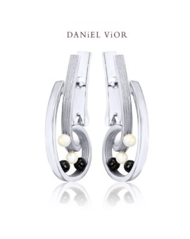 Quias Silver Handmade Opal Earrings by Daniel Vior