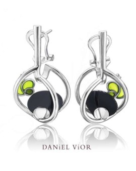 Matriu Silver Handmade Onyx Earrings by Daniel Vior