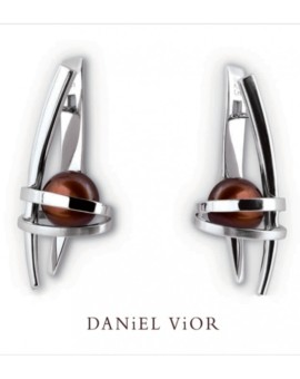 Asir Handmade Silver Brown Pearl Earrings by Daniel Vior