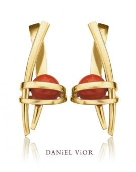 Asir Handmade 18ct Gold Coral Earrings by Daniel Vior