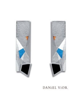 Metafaz Silver Handmade Onyx Earrings by Daniel Vior