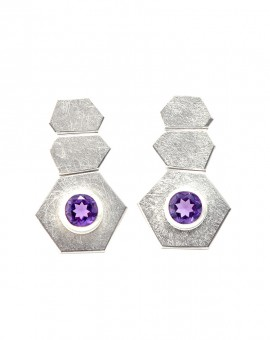 Roku Silver Handmade Earrings Natural Amethyst Eugen Steier