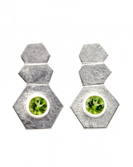 Roku Silver Handmade Earrings Natural Peridot Eugen Steier