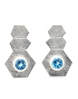 Roku Silver Handmade Earrings Natural Sky Blue Topaz Eugen Steier