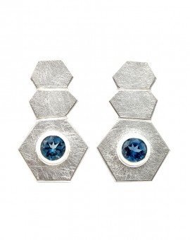Roku Silver Handmade Earrings Natural London Blue Topaz Eugen Steier